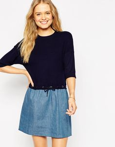ASOS Dress in Knit with Denim Skirt