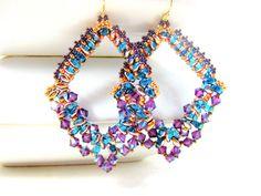 Teal Purple Earrings, Geometric Earrings, Beadwork Earrings, Statement Earrings, Large Earrings, Beaded Earrings, Crystal Earrings - Exotic on Etsy, $37.18