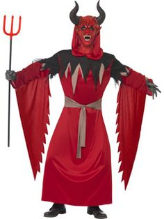 Devil Lord Costume, Red, Belted Robe