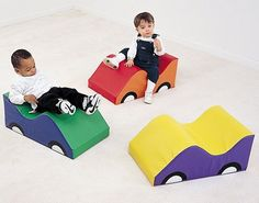 The set of 3 Infant Toddler Soft Cars are brightly colored and multifunctional, making these great for crawling over, pulling up, around, toddling into, or for sitting. Perfect for any family room, da