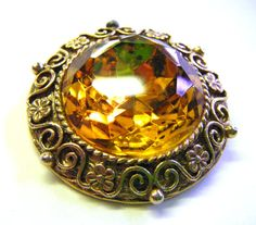 Gorgeous Gold and Amber Vintage Brooch Stunning Stone by parkledge, $20.00