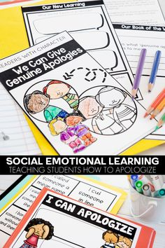 Teaching students how to apologize is an important social and emotional skill. Lesson plans, journal, home connection and SEL activities all included in this five day unit for elementary students! Kindness Activities, Writing Activities, Classroom Activities, Social Emotional Learning, Social Skills, Student Teaching, Teaching Kids, Growth Mindset For Kids, Character Education Lessons