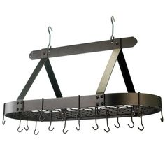 Old Dutch Oiled Bronze Oval Hanging Pot Rack with Grid and 16 Hooks at Lowe's. Includes grid, 16 hanging hooks and mounting hardware. Made of Heavy Gauge Steel with a durable, easy-care Pot Rack Hanging, Hanging Pots, Wall Mounted Bookshelves, Kitchen Storage Solutions, Copper Pots, Kitchen Styling, Organizer, Storage Organization, Clothes Hanger