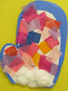 Winter bulletin board, Preschool winter bulletin board, Mittens in children's art, tissue paper mittens,