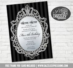 Printable Mirror Mirror On The Wall Birthday Invitation | Queen Birthday Party | Teen or Teenager Invitation | Sweet 16 Party Idea | Party Signs | Food Labels | Banner | Favor Tags | www.dazzleexpressions.com