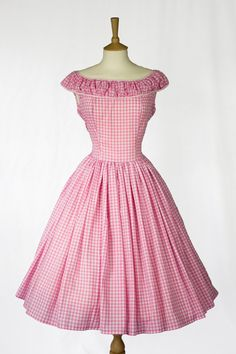 Handmade 1950's style pink gingham full skirt dress with ruched boatneck. Sweet rockabilly style. From e0m0m0a on Etsy.