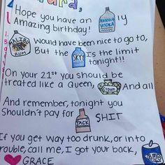 21st birthday card idea! So adorable!