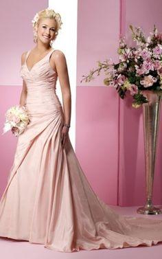 Taft natürliche Taile Modern formelles Brautkleid mit Seite Drapierung