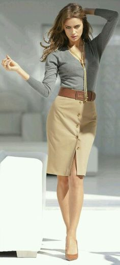 Grey and camel again!! With a button up pencil skirt