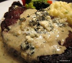 Ribeye Steaks With Blue Cheese Sauce - This sauce was AWESOME! I didn't use the steak recipe, so I cooked the sauce in a pan that I had cooked bacon in.you know that tasted GOOD! My husband won't stop talking about it, I think I'll be making it again! Blue Cheese Steak Sauce, Steak Cream Sauce, Blue Cheese Butter, Steak With Blue Cheese, Steak With Sauce, Butter Steak Sauce, Steak Sauce Recipes, Beef Recipes, Cooking Recipes