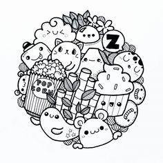 Pin by sharmaine malado on doodle art pequeños dibujos, cari Cute Doodle Art, Doodle Art Designs, Doodle Art Drawing, Cute Art, Doodle Art Letters, Doodle Sketch, Cute Coloring Pages, Doodle Coloring, Kawaii Doodles