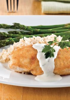 Parmesan-Crusted Chicken in Cream Sauce Can you imagine if the crusty-crunchy chicken Parm with silky, creamy sauce you order whenever you see it on a menu were made to fit your healthy eating plan? Youre welcome.