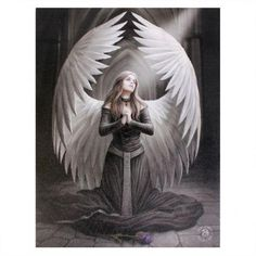 """""""Prayer for the Fallen"""", by Anne Stokes This card measures approximately 121 x It is produced on recycled paper, using vegetable based inks. The artwork is by British fantasy art… Anne Stokes, Angels And Demons, Angels Among Us, Fantasy Kunst, Fantasy Art, Lenticular Printing, Wall Art Crafts, Angel Drawing, Black Angels"""