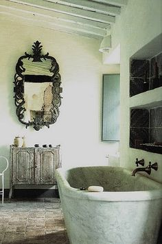 Love this mirror & tub...Natalie Hughes is jealous even if she doesn't know about this pin yet.