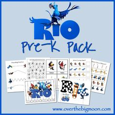 Rio Pre-K Pack!  Do your kiddos love the movie Rio?  Then they'll love this pack with 30+ pages of learning and fun for Pre-K and K aged kids!