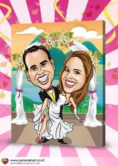 Membuat foto Wedding menjadi KARIKATUR POP ART POTRET seperti dalam sample (2 Faces, 1 Panel), harga mulai dari KANVAS 228.000 IDR dan POSTER 213.000 IDR. GRATIS biaya kirim seluruh wilayah Indonesia.