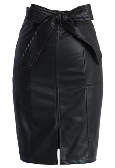 Candy Black Faux Leather Pencil Skirt