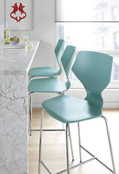 Pop of color? Pike Counter Stool with Chrome Base - Modern Counter & Bar Stools - Modern Dining Room Furniture - Room & Board