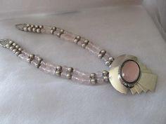 Carol Felley Chain of Rose Quartz  & Sterling Silver Beads Sunrise Necklace #CarolFelleyRoseQuartzSterlingNecklace
