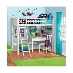 Loft Bed With Desk For Kids Girls Bedroom Furniture Computer Teens