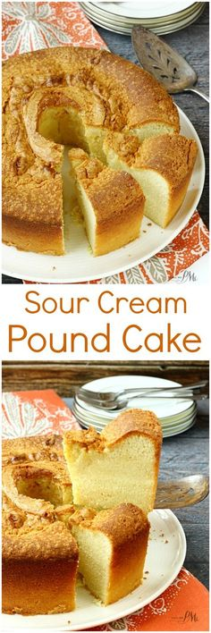 Sour Cream Pound Cake Recipe is a simple classic and always a crowd-pleaser! Sour Cream Pound Cake Recipe is a simple classic and always a crowd-pleaser! It's creamy and smooth on the inside with a crispy crust on the outside and top. Just Desserts, Delicious Desserts, Dessert Recipes, Sour Cream Pound Cake, Cream Cake, Pound Cake Recipes, Pound Cakes, Simple Pound Cake Recipe, How Sweet Eats