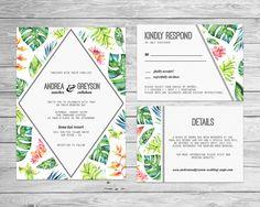 Tropical Wedding Invitation, Printable Wedding Invite, Tropical Wedding Suite, DIY Wedding, Destination Wedding, Instant Download - tw01