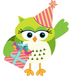 Owl with birthday gift box vector
