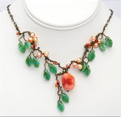 With twisted wire. Nature Inspired Necklace  Peach  Spring  by CherylParrottJewelry, Etsy