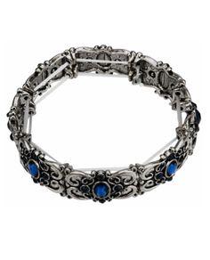 Pulseira elástica de metal prata velha com pedras de resina azul