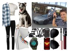 """""""test driving a lamborghini w/ tanner foust & puddles"""" by silent-killer ❤ liked on Polyvore featuring Charlotte Russe, Too Faced Cosmetics, WALL, Boohoo, Rails, Converse, NARS Cosmetics, GoPro and Manfrotto"""