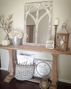 Maximizing Your Room with These Farmhouse Console Table Designs - Interior decoration - Home Sweet Home Rustic Farmhouse Entryway, Modern Farmhouse, Farmhouse Interior, Farmhouse Small, Farmhouse Ideas, Country Farmhouse, Rustic Modern, Rustic Entry Table, Rustic Office