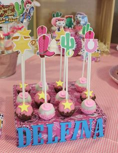 Sheriff Callie birthday party cake pops! See more party planning ideas at CatchMyParty.com!