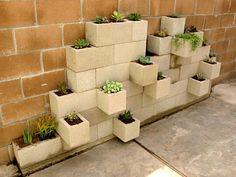 Breeze block planter wall