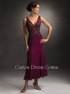 Cameron Blake 28665 is a Gorgeous A-Line Chiffon Gown with V-Neckline, Tank Straps, Beautiful Applique & Beading on Bodice, A-Line Tea Length Layered Hem Skirt, V-Back. Gorgeous Mother of the Bride Dresses Professionally Custom Made to Your Exact Measurements.
