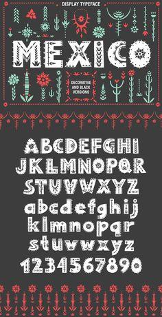 Display font decorated with floral ornaments based on Mexican landscapes on Creative Market. Digital design goods for personal or commercial projects. Graphic design elements and resources.