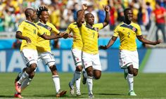 Colombia's Pablo Armero celebrates after scoring the first goal