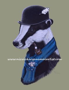 'Badger in a Bowler' a new glicee print, taken from original pastel, available from Nic Vickery