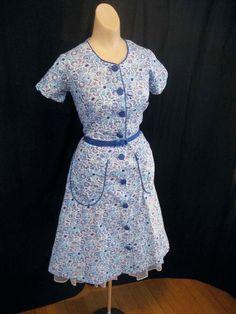 Vintage Blue 1940's Cotton House Dress 14 Nwot Never Worn Novelty Print Medium
