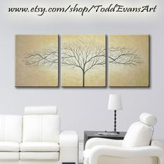 48 inches Original, 3 Piece Wall art, set Large Canvas Brown, light brown Trees set of 3 tree Painting Wall Decor Triptych by ToddEvansArt, $100.00