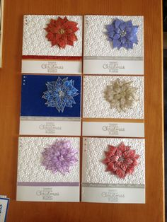 Stampin up Joyful Christmas stamp set and petals a plenty embossing folder in various colour ways