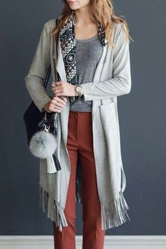 Casual Solid Color Turn-Down Collar Tassel Hem Cardigan For Women