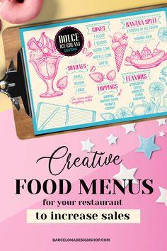 All food menus Archives - Barcelona Design Shop Restaurant Marketing, Restaurant Branding, Restaurant Design, Food Menu Design, Food Truck Design, Food Menu Template, Menu Templates, Vintage Food, Vintage Recipes