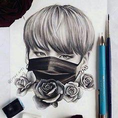 The lovely art Kpop Drawings, Pencil Drawings, Bts Jungkook, Jungkook Fanart, Fan Art, Bts Chibi, Bts Fans, Kpop Fanart, Beautiful Drawings