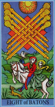 Eight of Wands - Dame Fortune's Wheel Tarot by Paul Huson.