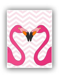 Flamingo Love Print, Pink Flamingo Print on chevron background,11x14 Print, Nursery art children room decor on Etsy, $25.00
