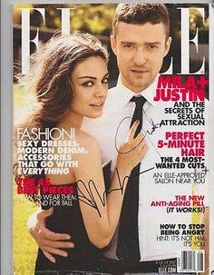 Mila Kunis & Justin Timberlake Autographed Signed 'Elle' Magazine COA Friends