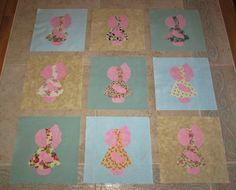 "SALE!!   Set of 9 Large 7""  Feedsack Fabric Sunbonnet Sue Quilt Blocks"