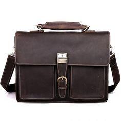 """Vintage handmade crazy horse leather briefcase / messenger / 14"""" 15"""" laptop 15"""" macbook bag"""