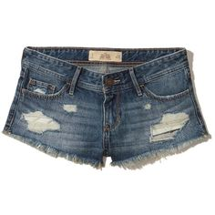 Hollister Low-Rise Denim Short-Shorts (165 BRL) ❤ liked on Polyvore featuring shorts, ripped medium wash, frayed denim shorts, denim short shorts, hot jean shorts, short jean shorts and ripped denim shorts