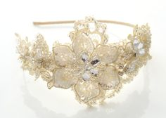 lace and rhinestone side tiara Esmee - The Modern Vintage Bride, inspired vintage tiaras and wedding accessories